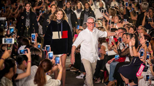 Gigi Hadid and Tommy Hilfiger during the Tommy Pier fashion show in New York on Sept. 9th, 2016.