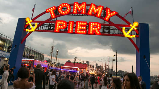 Tommy Pier carnival setting for the Tommy Hilfiger fashion show in New York on Sept. 9th, 2016.
