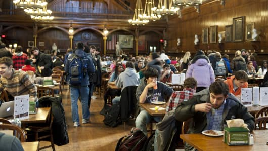 Students eating in Annenberg Hall, located in Memorial Hall at Harvard University in Cambridge, MA.