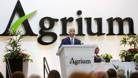 President and CEO Chuck Magro of Agrium addresses shareholders during the company's annual general meeting in Calgary, Alberta, May 6, 2015.