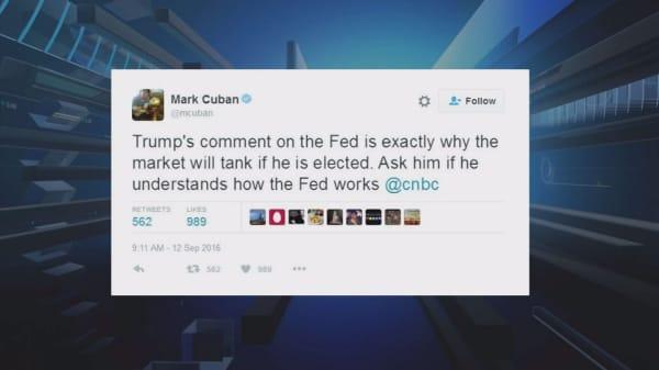 Mark Cuban slams Trump's Fed comments
