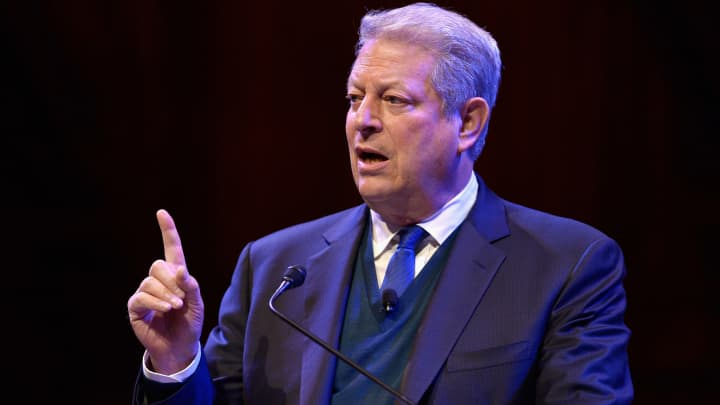 Former Vice President Al Gore discusses 'Confronting The Climate Crisis: Critical Roles For The US And China'at Harvard University's Sanders Theatre on April 7, 2016 in Cambridge, Massachusetts.