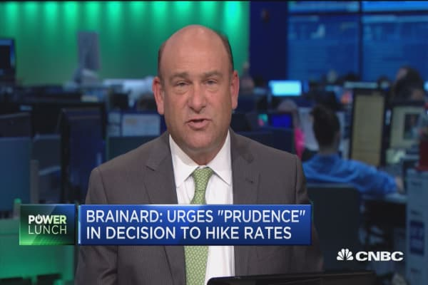 Brainard: Urges 'prudence' in decision to hike rates