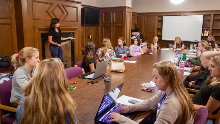 A meeting of the University of Notre Dame Society of Women Engineers, an example of a campus club that can receive money from corporate sponsors like Disney, Amazon, Mastercard, and Bank of America through Door of Clubs, which connects potential employers with a young, diverse talent pool across nearly 500 clubs on 140 campuses.