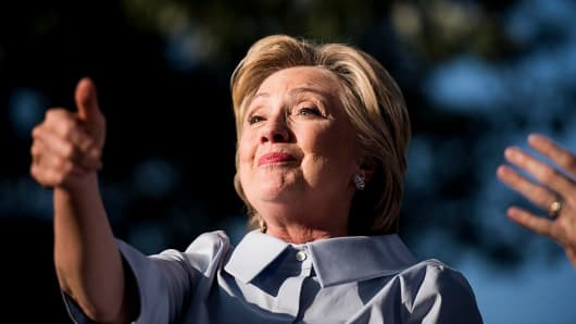 Democratic Nominee for President of the United States former Secretary of State Hillary Clinton