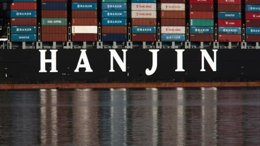 The Hanjin Greece container ship is docked for unloading at the Port of Long Beach after being stranded at sea for more than a week for fear that it could be seized by creditors if it came to shore on September 10, 2016.