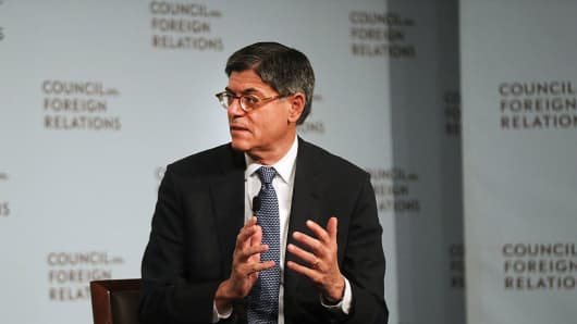U. S. Treasury Secretary Jacob Lew speaks at the Council on Foreign Relations on September 12, 2016 in New York City.