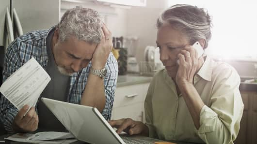 Elderly people in debt/ retired