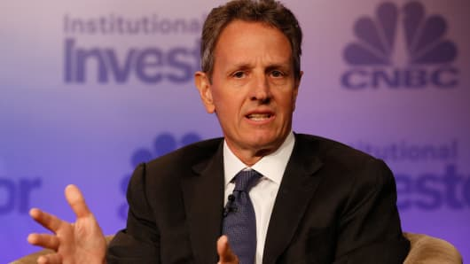 Former Treasury Secretary Timothy Geithner speaking at Delivering Alpha in New York on Sept. 13, 2016.
