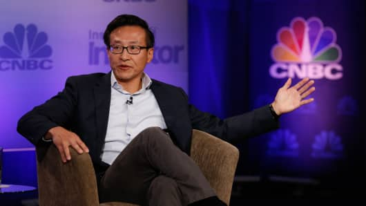 Joseph Tsai speaking at Delivering Alpha in New York on Sept. 13, 2016.