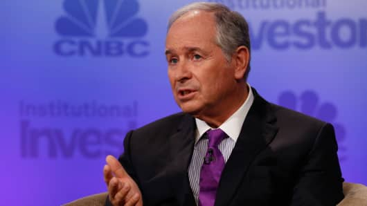 Stephen Schwarzman speaking at Delivering Alpha in New York on Sept. 13, 2016.