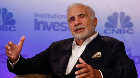 Carl Icahn speaking at CNBC and Institutional Investor's Delivering Alpha in New York on Sept. 13, 2016.