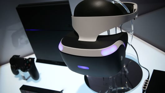 A reference model of the Sony PlayStation VR viewer is on display with a PlayStation 4 system during a CES press event on January 5, 2016 in Las Vegas, Nevada.