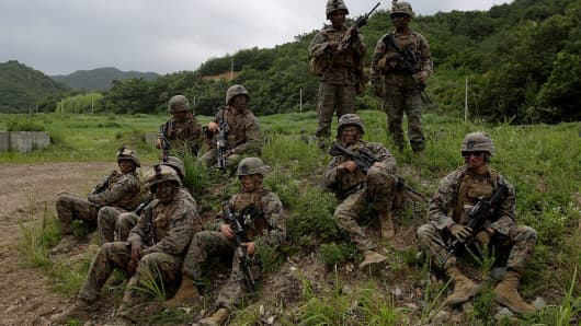 U.S. Marines from 3rd Marine Expeditionary force deployed from Okinawa, Japan, participate in joint combat training with South Korean soldiers on July 6, 2016 in Pohang, South Korea.