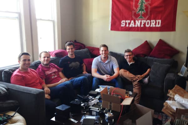 Nate Hardison (co-founder & CTO), Amos Schallich (co-founder & VP of engineering), Rowan Chakoumakos (first hire, engineer), Nick Weaver (co-founder, CEO), Dima Brezhnev (intern at the time, no longer works at eero).