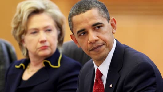 Then Secretary of State Hillary Clinton and President Barack Obama in Beijing, China in 2009.