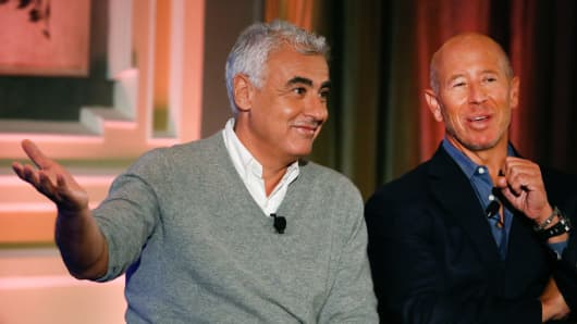 Marc Lasry and Barry Sternlicht speaking at Delivering Alpha in New York on Sept. 13, 2016.