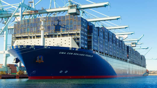 The CMA CGM SA operated Benjamin Franklin sits docked at the Port of Los Angeles.