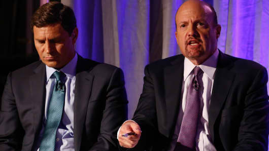David Faber and Jim Cramer host a panel at Delivering Alpha in New York on Sept. 13, 2016.