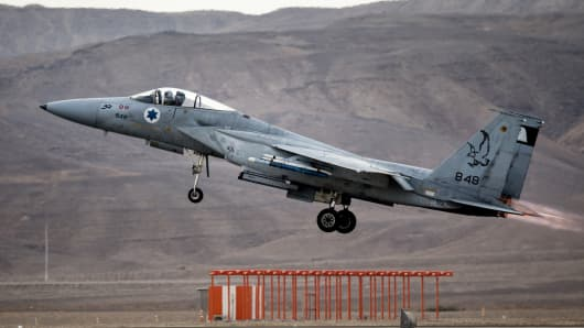 An Israeli F-15 fighter jet