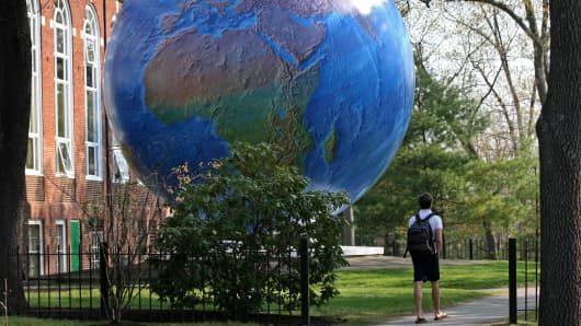 Babson World Globe on the Babson campus
