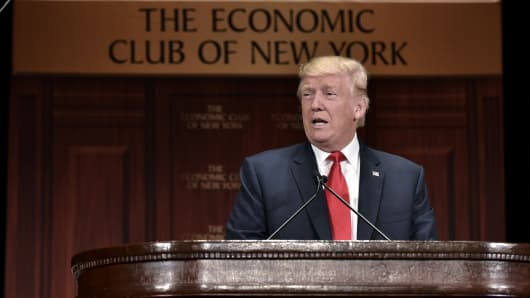 Republican presidential nominee Donald Trump speaks at an event hosted by The Economic Club of New York at the Waldorf Astoria hotel in New York on September 15, 2016.