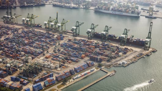 The Brani container terminal and the Keppel container terminal stand in this aerial photograph taken above Singapore, on Thursday, July 2, 2015.