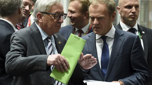 EU Commission President Jean Claude Juncker (L) and EU Council President Donald Tusk.