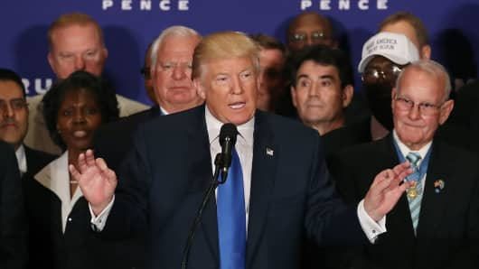 Surrounded by military veterans, US Republican presidential nominee Donald Trump says US President Barack Obama was born in the United States, during a campaign event at the Trump International Hotel, September 16, 2016 in Washington, DC