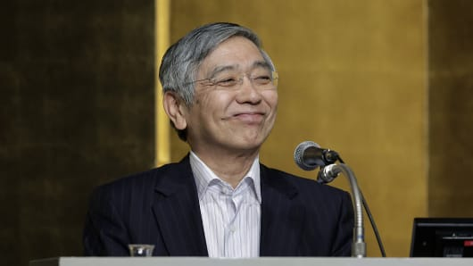 Haruhiko Kuroda, governor of the Bank of Japan (BOJ), smiles during his speech at a meeting hosted by Kyodo News in Tokyo, Japan.