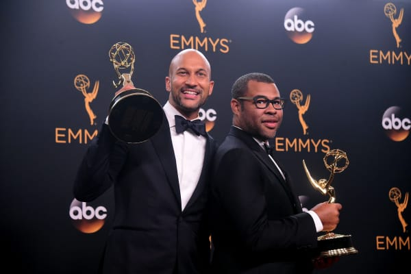Actors Keegan-Michael Key (L) and Jordan Peele pose with the Emmy for Outstanding Variety Sketch Series for 'Key & Peele' in the press room during the 68th Emmy Awards on September 18, 2016 at the Microsoft Theatre in Los Angeles.