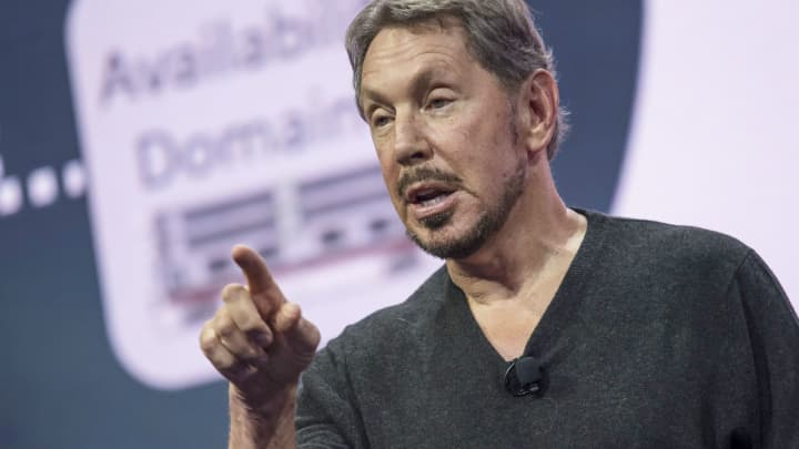 Larry Ellison, chairman of Oracle Corp., speaks during the Oracle OpenWorld 2016 conference in San Francisco, on Sunday, Sept. 18, 2016.