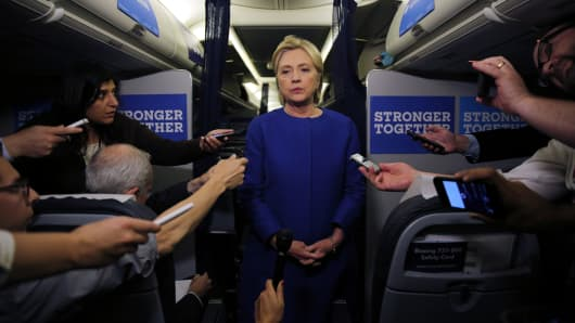 Democratic nominee Hillary Clinton talks to reporters about the explosion in Chelsea neighborhood of Manhattan, New York, as she arrives at the Westchester County airport in White Plains, U.S., September 17, 2016.