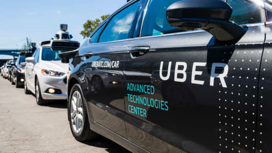 Pilot models of the Uber self-driving car.