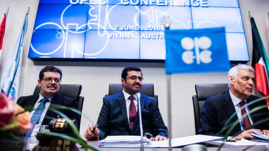 Mohamed Hamel, chairman of OPEC, left, Mohammed Al-Sada, Qatar's minister of energy and industry and president of OPEC, center, and Abdalla El-Badri, acting secretary general of OPEC, look on ahead of the 169th Organization of Petroleum Exporting Countries (OPEC) meeting in Vienna, Austria, on Thursday, June 2, 2016.