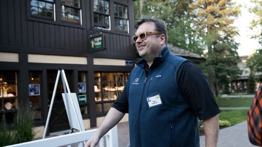 Reid Hoffman, executive chairman of LinkedIn, attends the annual Allen & Company Sun Valley Conference, July 6, 2016 in Sun Valley, Idaho.