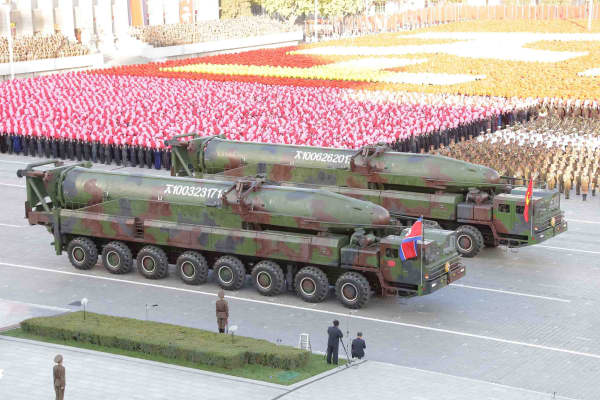 North Korean military participates in the celebration of the 70th anniversary of the founding of the ruling Workers' Party of Korea in Pyongyang on October 12, 2015.