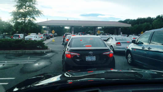 Cars lined up to get gas at a Costco in Raleigh, North Carolina, on Sept. 19, 2016.