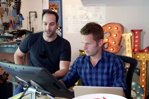 Elan Lee and Matt Inman at the office in Los Angeles.