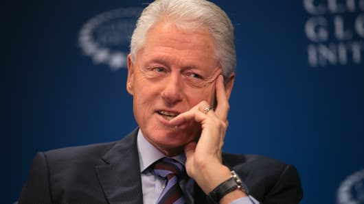 Former President Bill Clinton sits down with CNBC's Becky Quick the Clinton Global Initiative Annual Meeting in New York on Sept. 20, 2016.