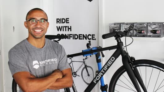 "Tivan Amour, CEO of Fortified Bicycle, a recent Techstars grad making the ""perfect bike for the city."""