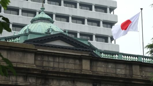 The national flag flutters in the wind at the Bank of Japan headquarters in Tokyo.