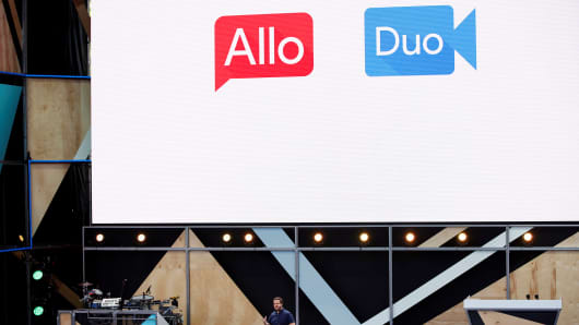 Erik Kay, engineering director at Google, introduces Allo and Duo on stage during the Google I/O 2016 developers conference in Mountain View, California May 18, 2016