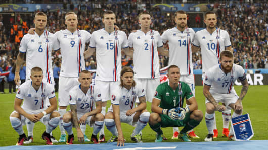 Iceland's national football team during the UEFA EURO 2016 quarter final match between France and Iceland on July 3, 2016 in Paris, France.