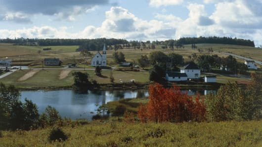 Landscape with church and houses on Prince Edward island, Canada