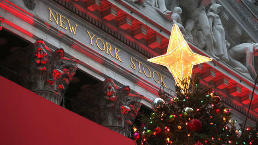 Lights for the holidays illuminate the New York Stock Exchange.
