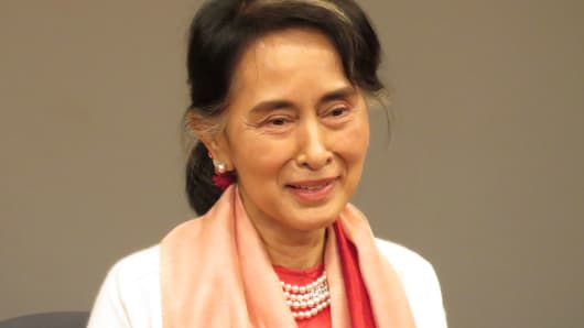 Nobel Peace Prize laureate and State Counsellor of Myanmar Aung San Suu Kyi speaks at the Asia Society in New York on Sept. 21, 2016.