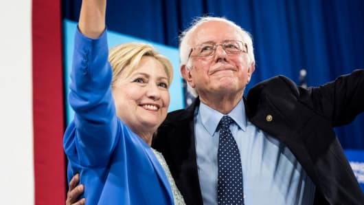 Hillary Clinton and Bernie Sanders on July 12, 2016.