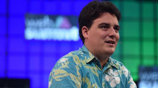 Palmer Luckey, Founder, Oculus VR, on the Centre Stage during Day 1 of the 2015 Web Summit in the RDS, Dublin, Ireland.