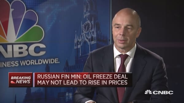 Don't bank on oil freeze boosting prices: Russian FinMin